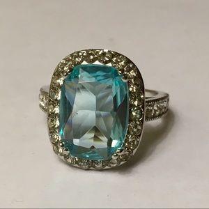 Jewelry - Size 7 Ring Teal Blue Silver Tone Rhinestone